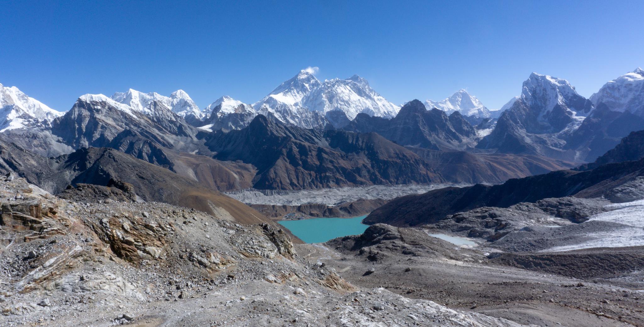 Renjo La Pass mit Mount Everest im Hintergrund