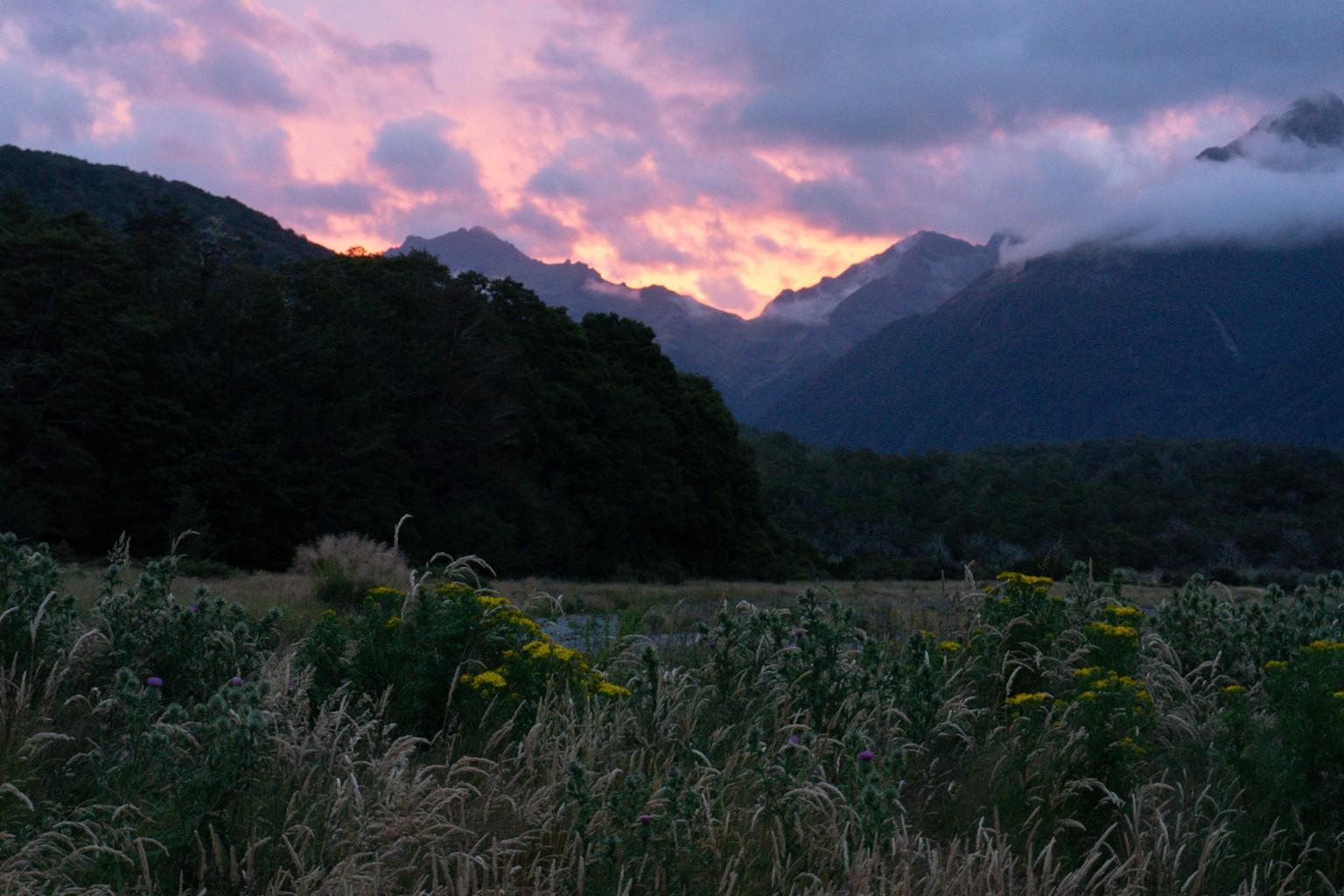 Sonnenuntergang Cascade Creek Campsite