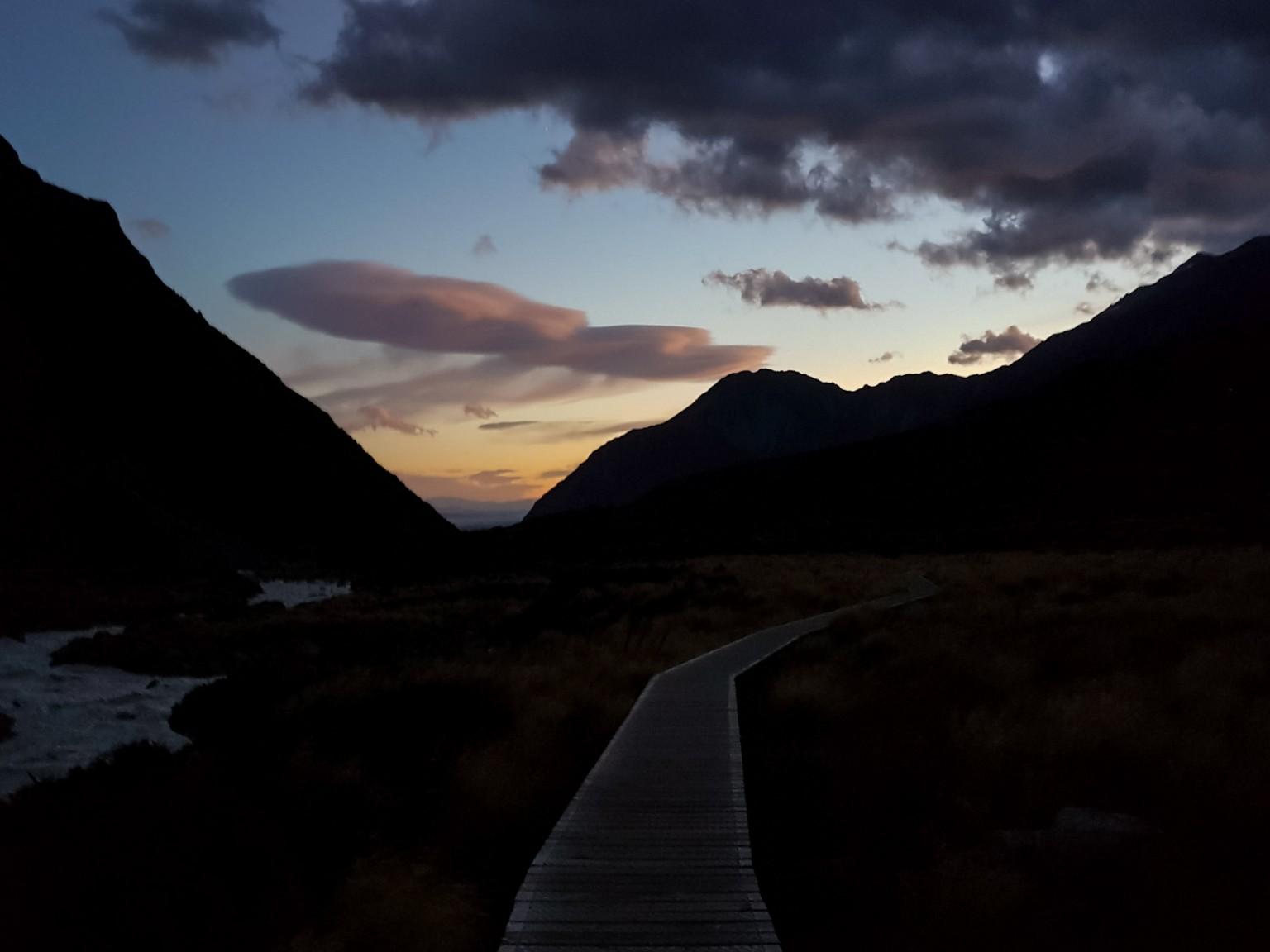 Sonnenuntergang Hooker Valley Track