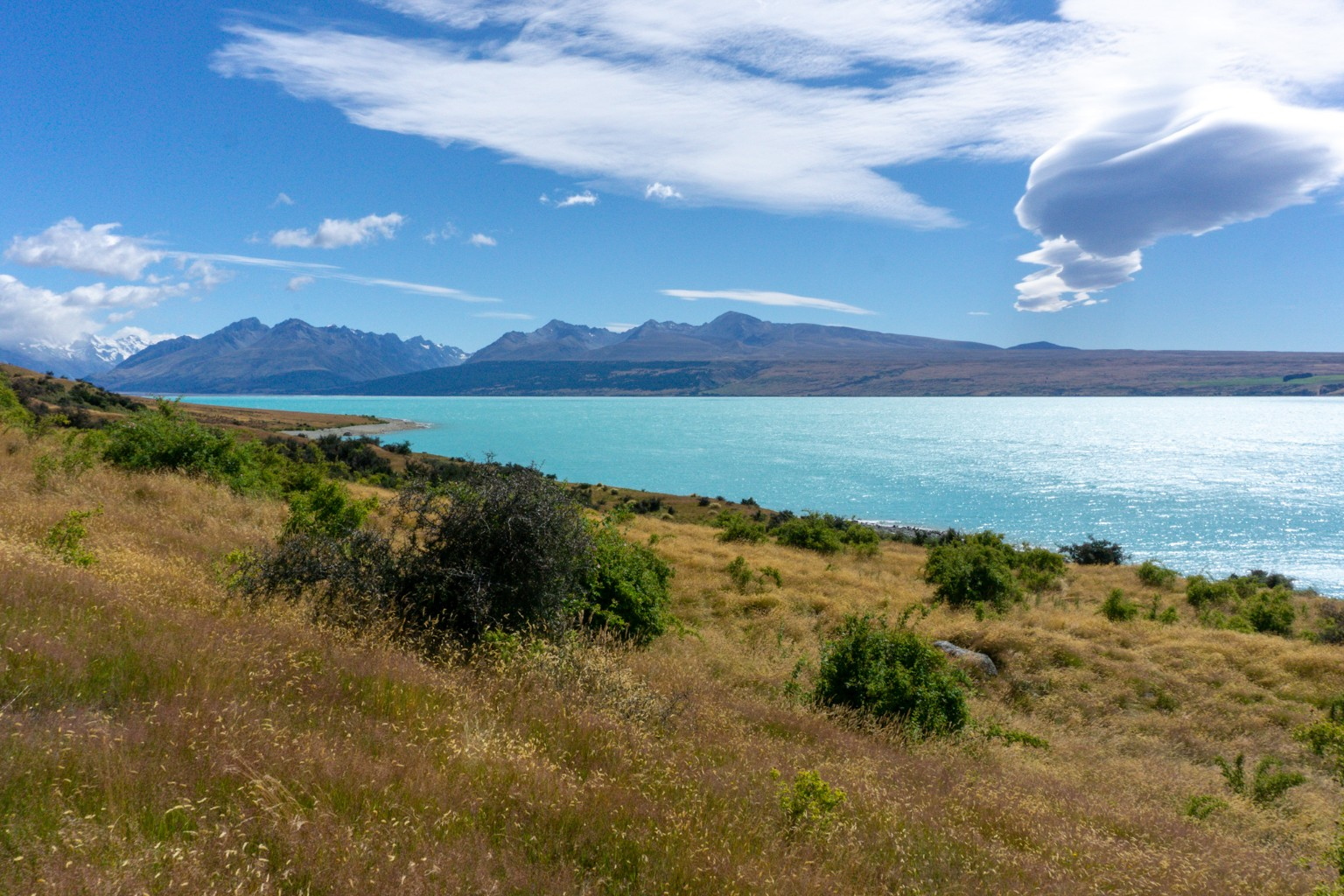 Lake Pukaki nähe des Mount Cook Nationalparks